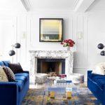 Modern living room ideas - sapphire blue sofas