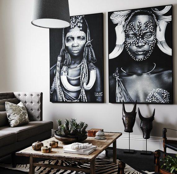 tribal prints on wall