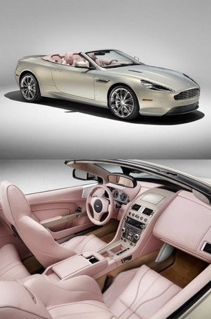 Aston Martin in cashmere and champagne pink