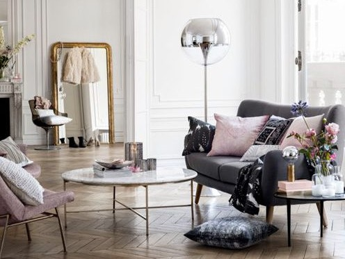 Dusty pink and grey interior in French inspired living room