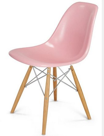 Candy pink Eames chair with natural legs