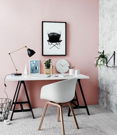 Pink and white Scandi office with black accents
