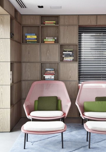 Pink chairs with footrest in retro living room