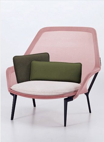 Mesh pink armchair with white and green cushions