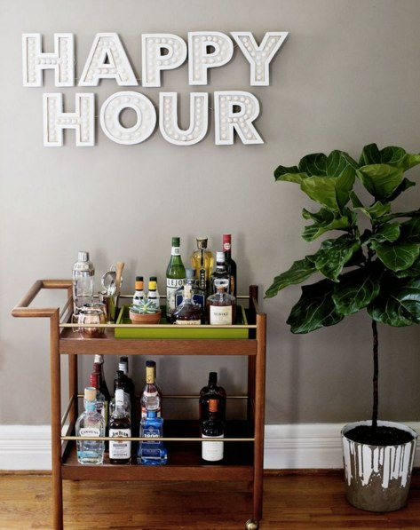 (4) DIY Happy Hour Sign from A Beautiful Mess + Parker Mid-Century Bar Cart from west elm | -spaces- | Pinterest | Happy Hour, Bar Carts and Happy
