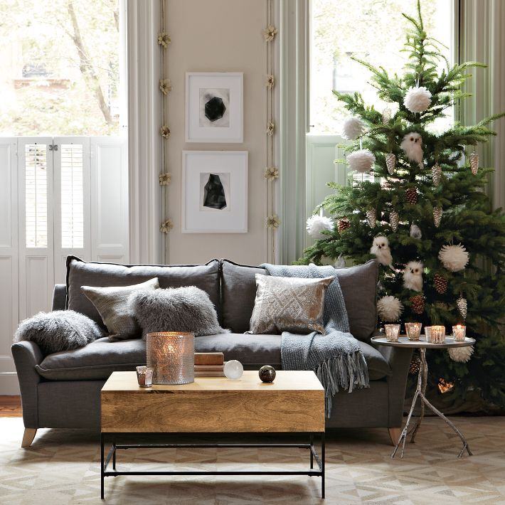 Grey Sofa Wooden Coffee Table Cool Christmas Decorating Ideas