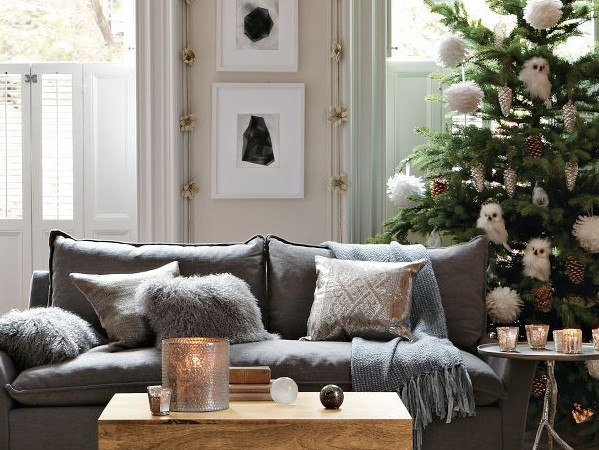 Christmas colours - grey, white and silver decorations