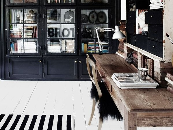 Office interior design - rustic desk with white floorboards