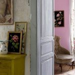 Rustic interior design - blue double doors and pink wall
