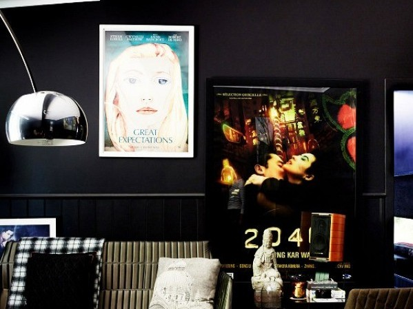 Contemporary interior design styles - black with movie posters