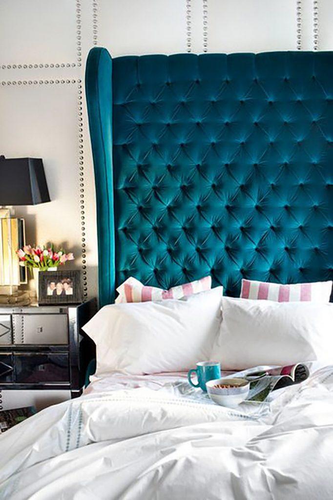 blue bedroom boudoir bedhead