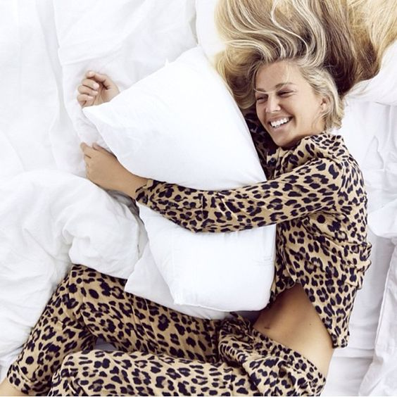 woman in leopard print pyjamas