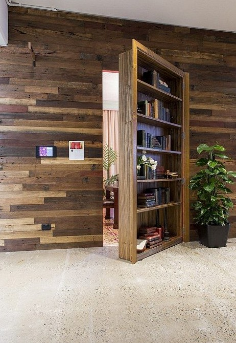 Airbnb hidden bookcase door