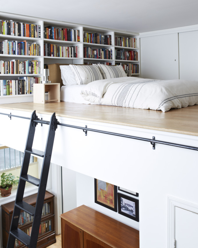 bookcase wall in bedroom
