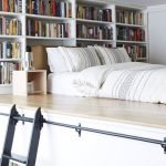 Small bedroom decorating ideas - mezzanine bed with bookcase