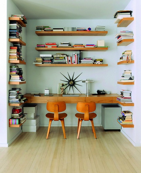 floating shelves walls vintage home office
