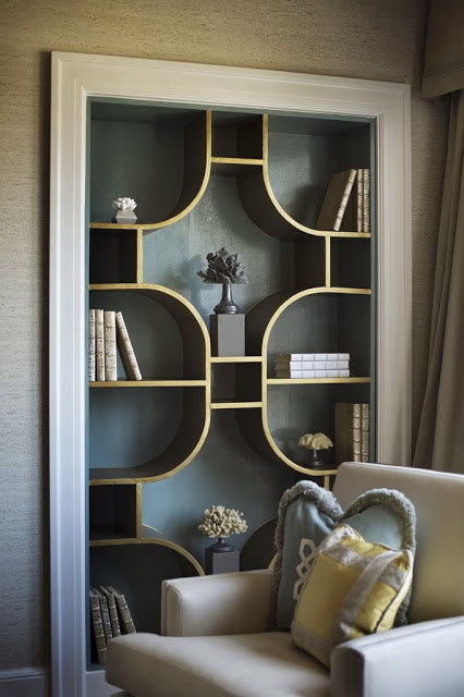 luxe bookcase gold and blue
