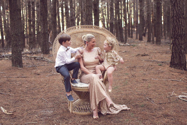 Kristy Withers with kids in forest