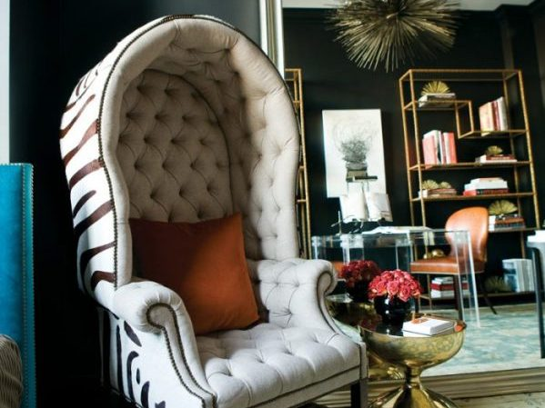 Modern living room ideas - cream zebra dome chair