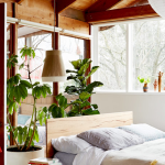Famous interior designers - natural bedroom with greenery
