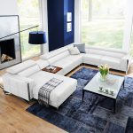 Modern living room ideas - white sectional leather sofa