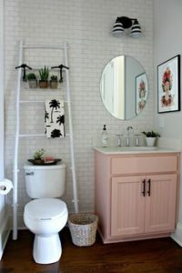 Small bathroom ideas - white ladder and pink cabinet