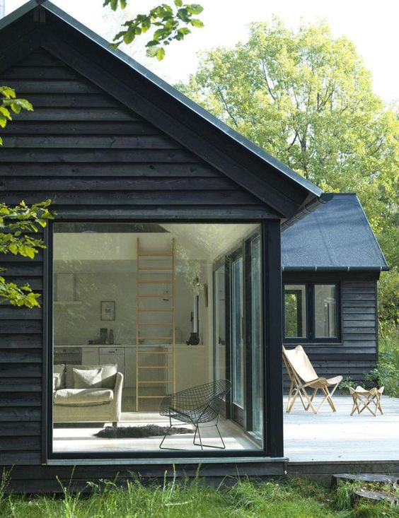 Home interior styles - black cabin in woods