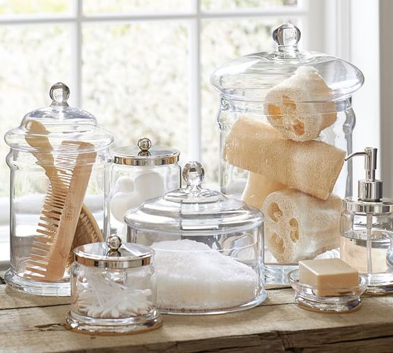 Small bathroom ideas - bathroom storage clear jars