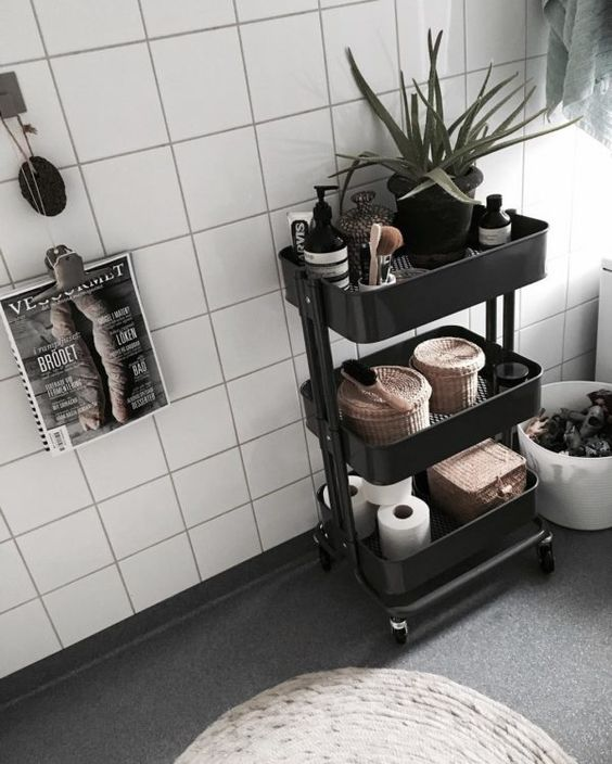 Small bathroom ideas - black bathroom caddy
