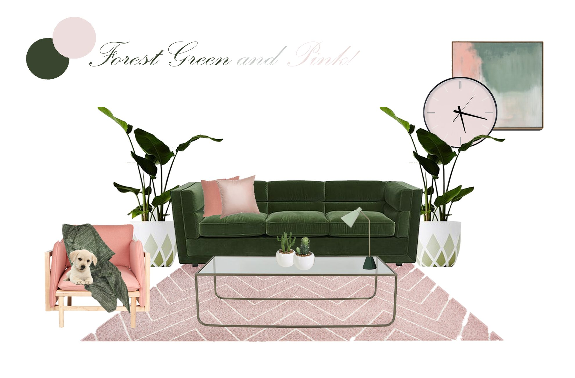 FOREST GREEN & PINK LIVING
