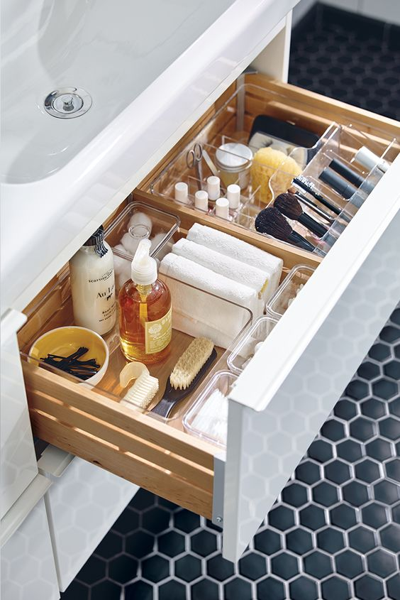 Small bathroom ideas - compartments for bathroom drawers