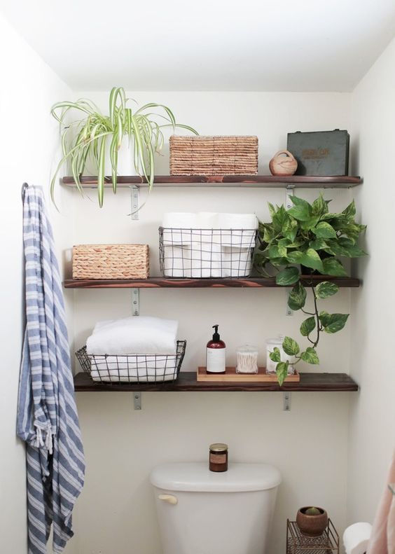 Small bathroom ideas - overhead floating shelves