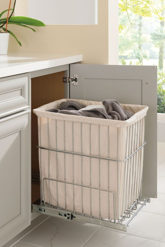 Small bathroom ideas - disguised laundry basket