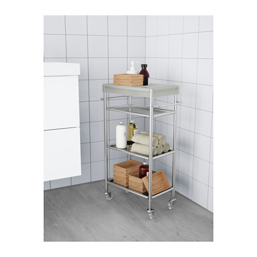 Small bathroom ideas - clear bathroom caddy with boxes