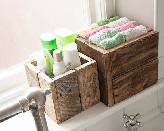 Small bathroom ideas - crate style boxes in bathroom