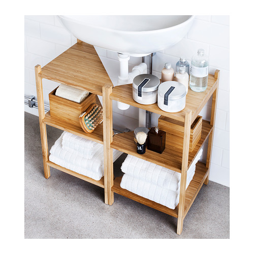Small bathroom ideas - under sink storage shelves