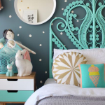 kids rooms mint green bed