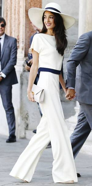 melbourne cup fashion Amal Clooney white pants suit