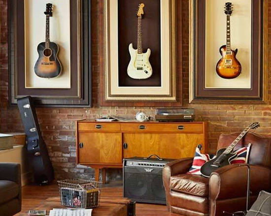 man cave framed guitars