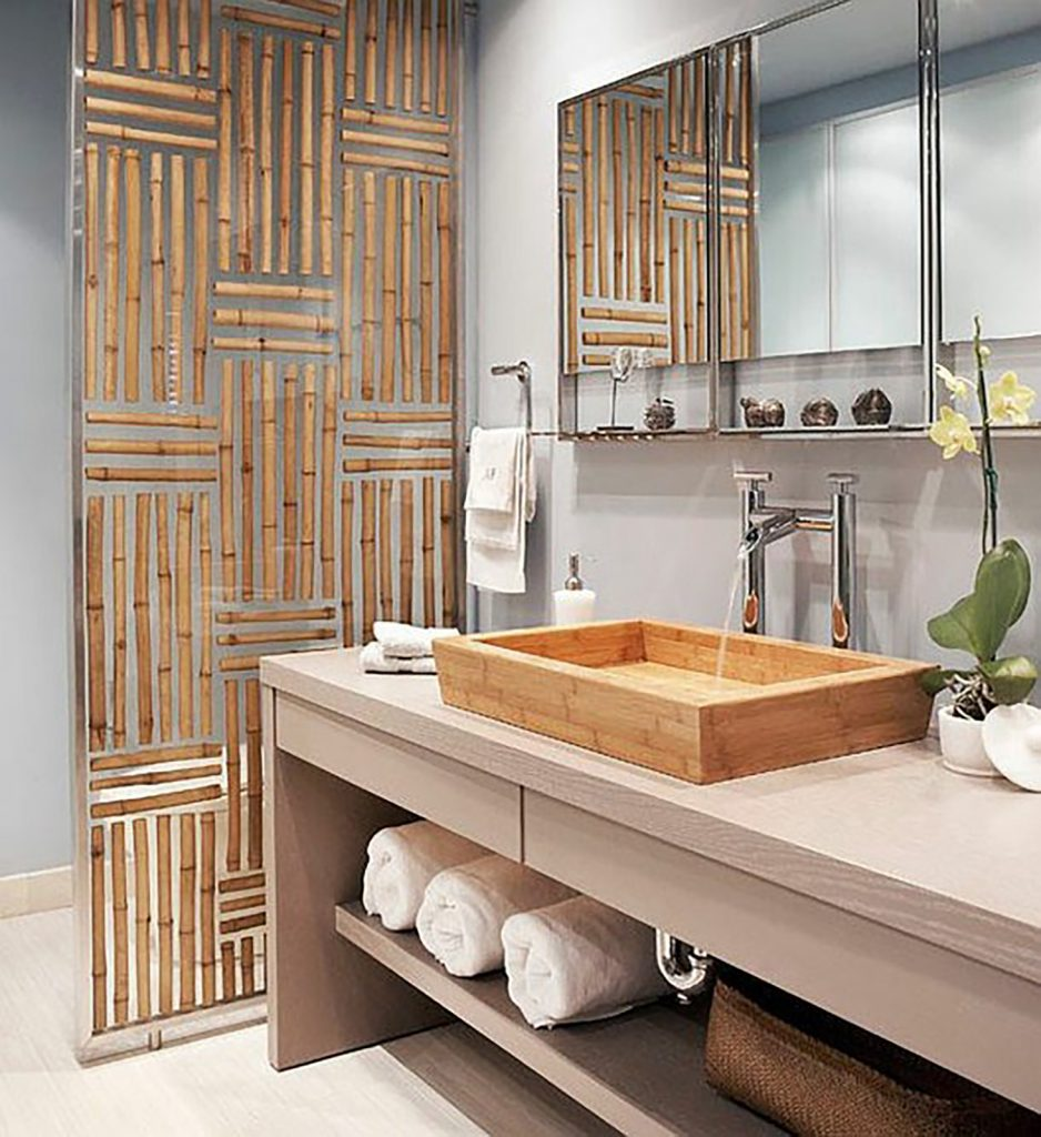 japandi bamboo feature bathroom
