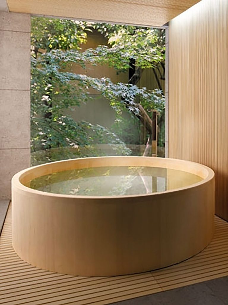 japandi bath outdoors