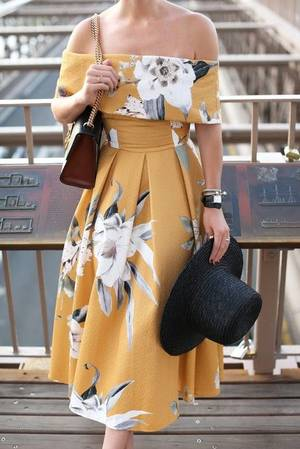 melbourne cup fashion mustard floral dress