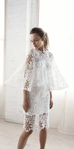 melbourne cup fashion white textured dress