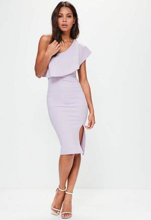 melbourne cup fashion mid length lilac dress