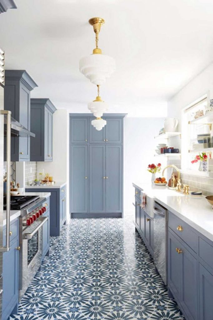 French accent style blue kitchen