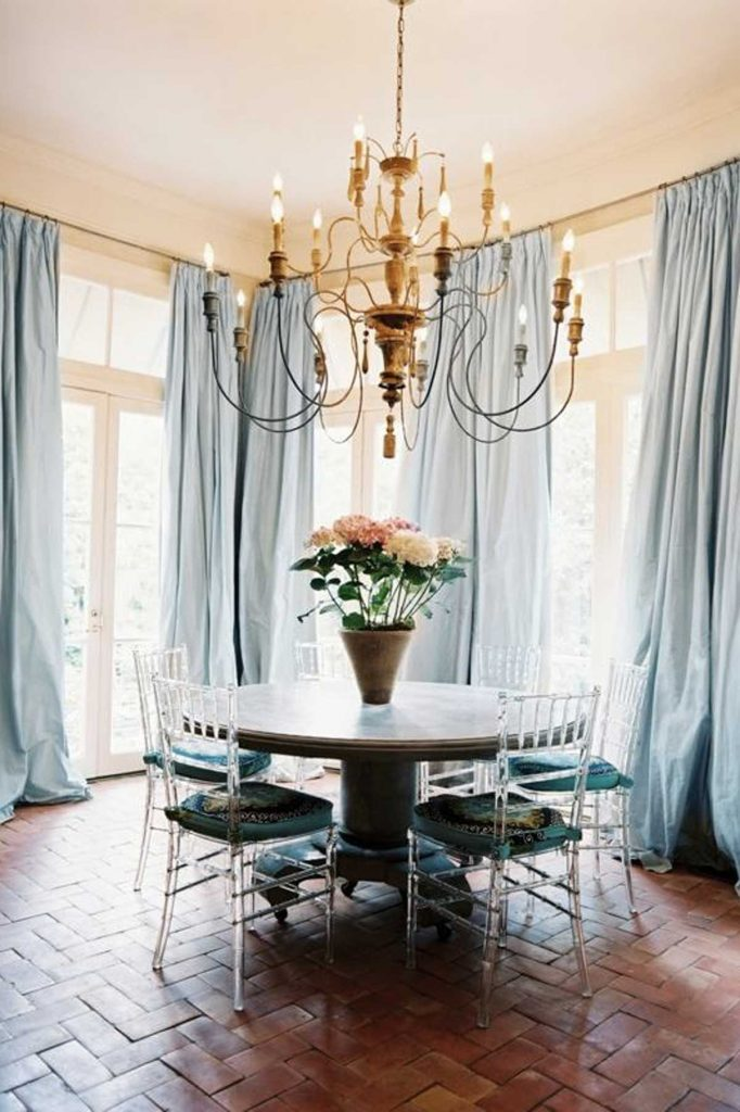 French accent style table with chandelier