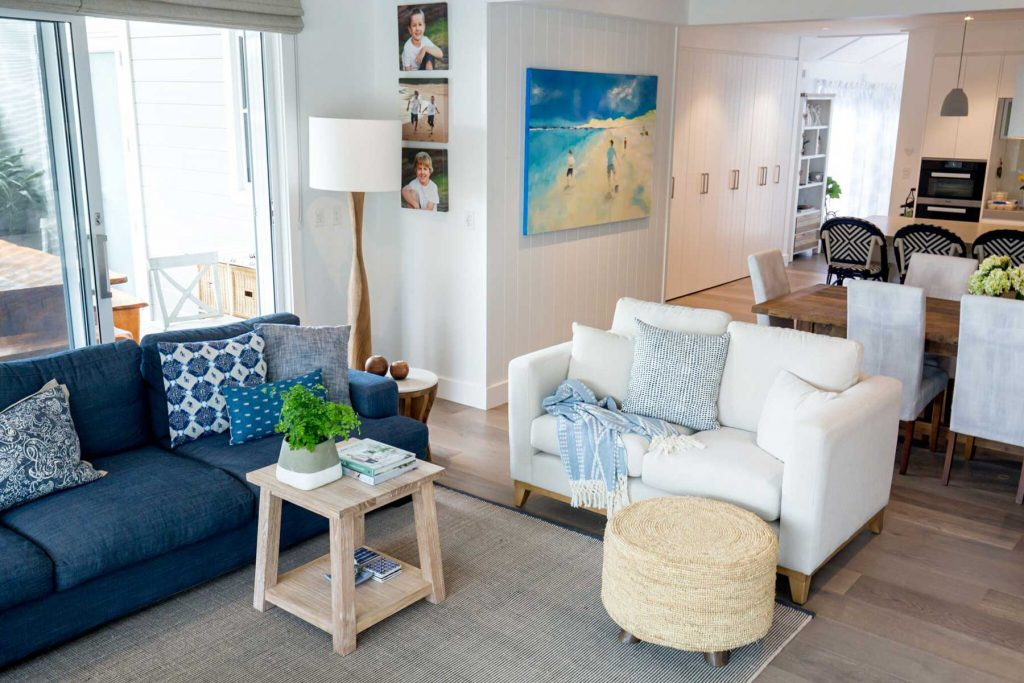 blue and white family coast living room