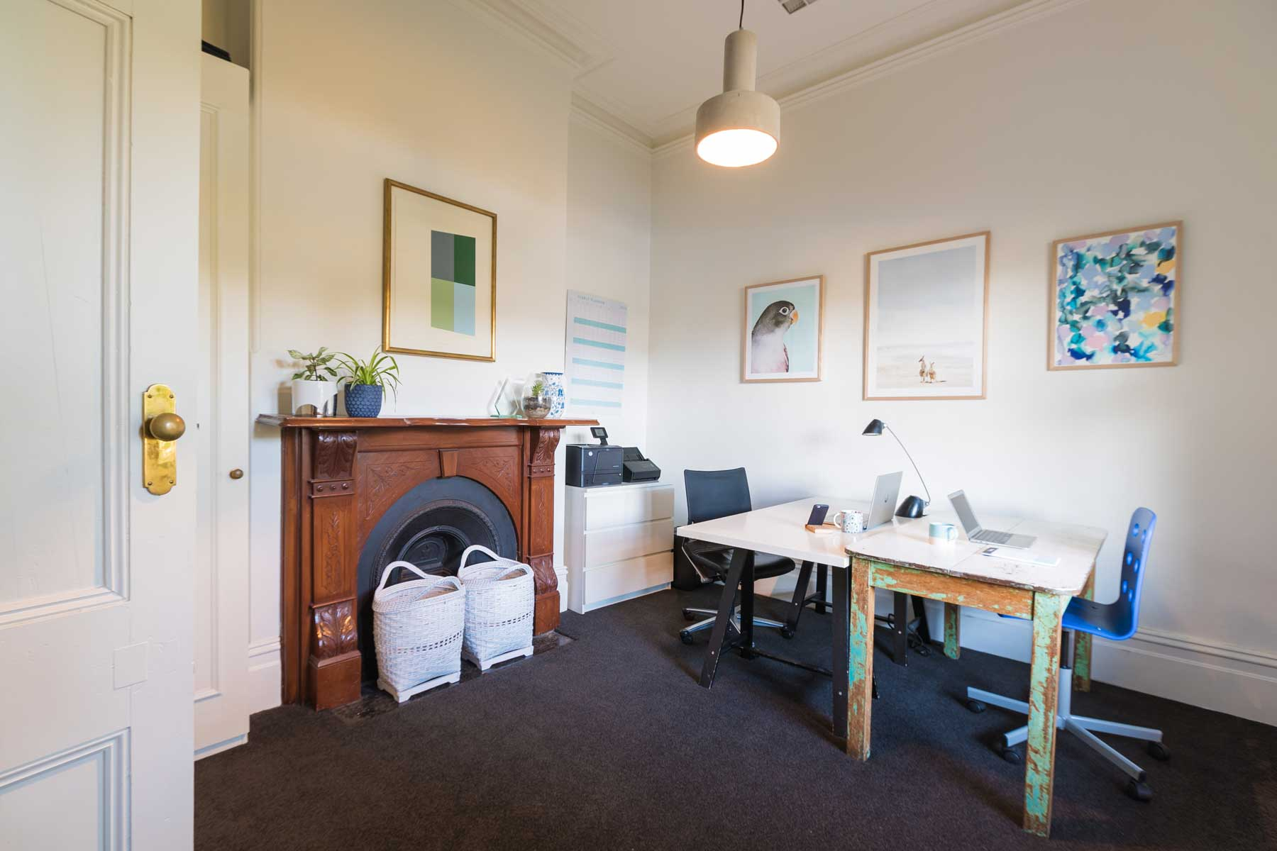 Lauras scandi home office - after - office view
