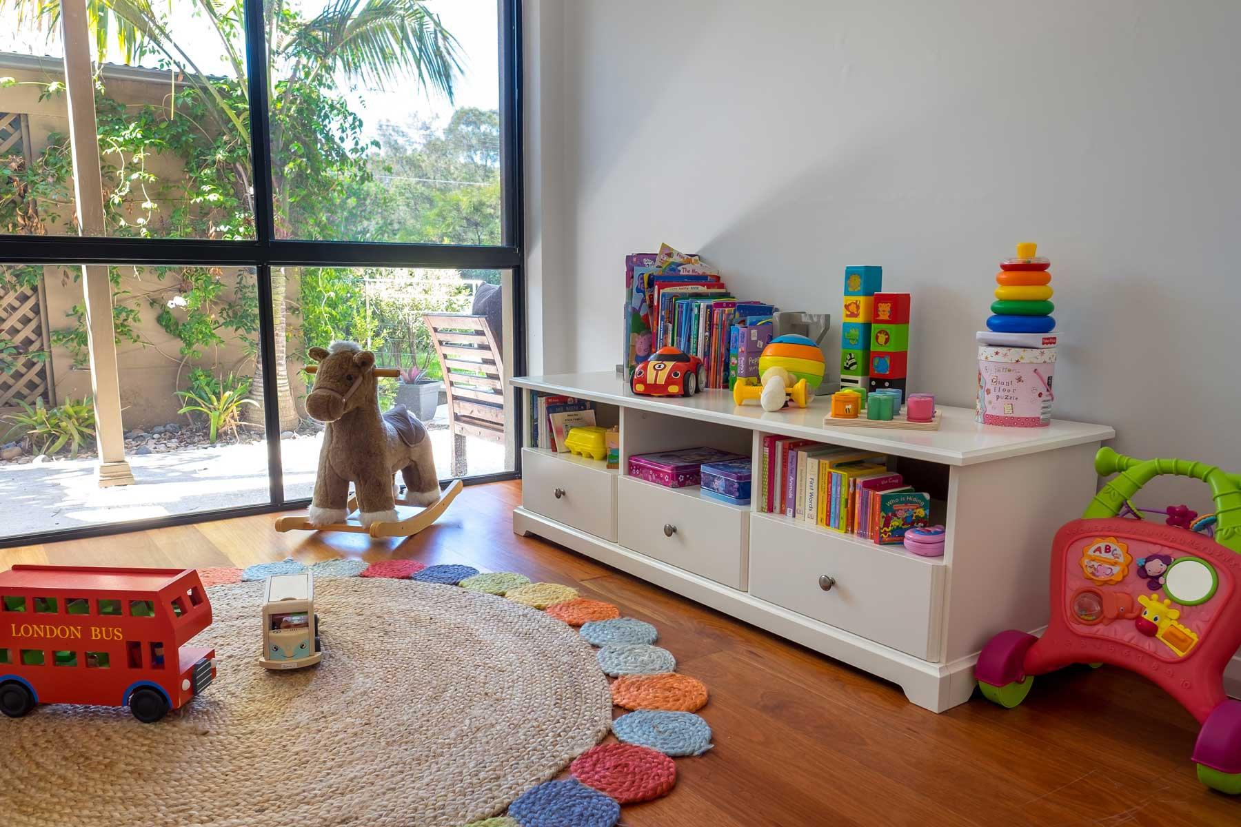 Rebecca's Modern Kid's Playroom - after - drawers