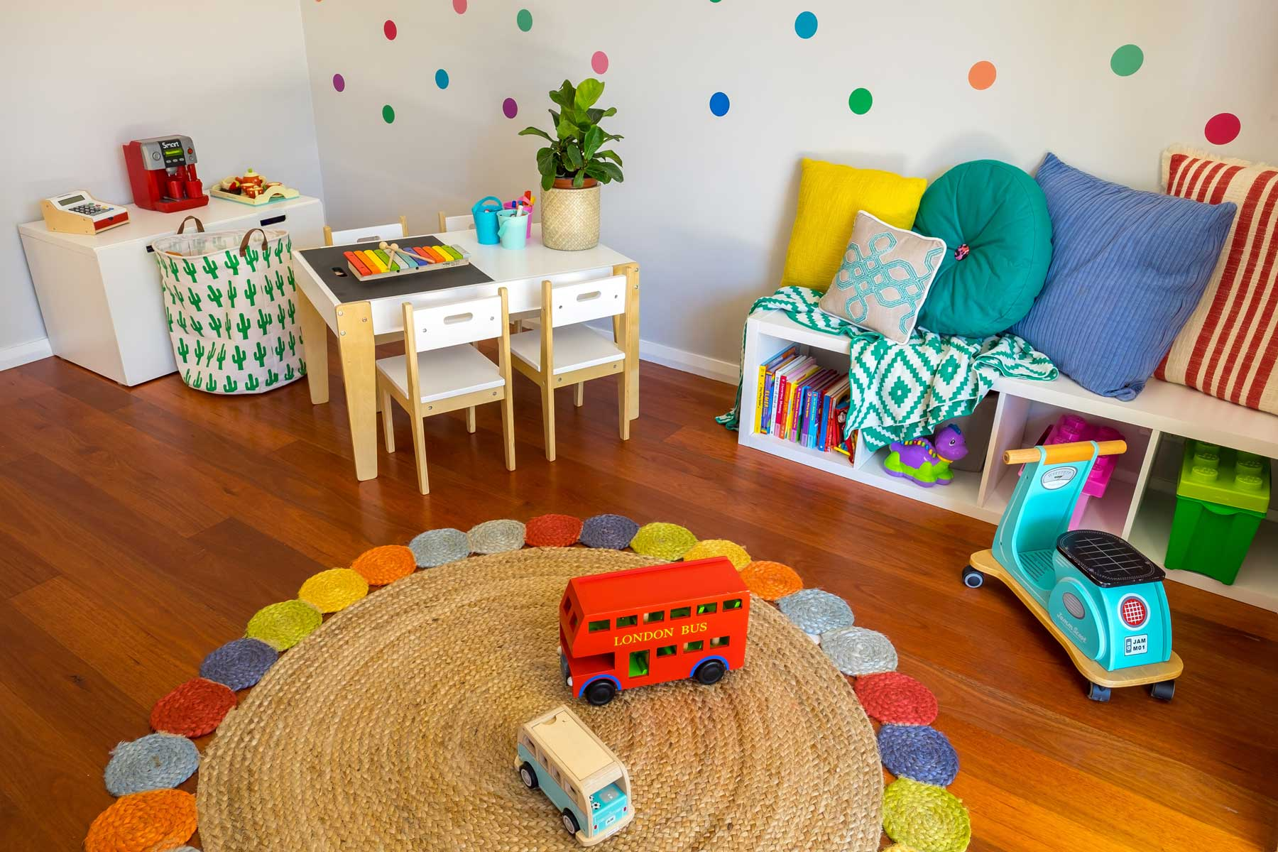 Rebecca's Modern Kid's Playroom - after - rug bus